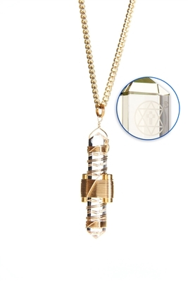 Buddha Maitreya the Christ Clear Quartz Etheric Weaver Pendant in Gold