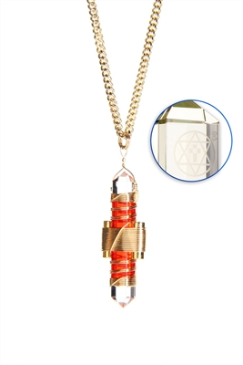 Buddha Maitreya the Christ Orange Gel Etheric Weaver Pendant in Gold