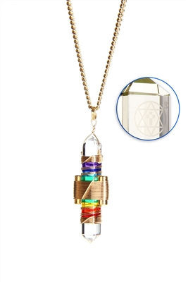 Buddha Maitreya the Christ Rainbow Gel Etheric Weaver Pendant in Gold