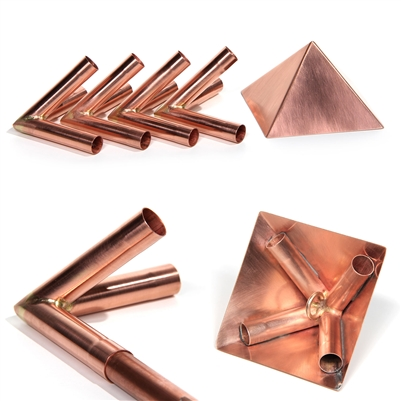 "Copper Meditation Pyramid Connectors with 4"" Capstone to fit 15mm diameter poles"