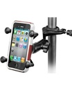 "Aviation Yoke ""C"" Clamp Base (Accommodates 0.625"" to 1.25"" Rail Diameter) with Standard Sized Arm & RAM-HOL-UN7BU Universal X Grip Spring Loaded Holder (Fits Device Width .875"" to 3.25"" including iPhone 5/5S, iPhone 6, Galaxy S5, S6, etc)"