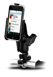 Handlebar Mount with Zinc U-Bolt (Fits .5 to 1.25 Dia.), Standard Sized Length Arm & Apple RAM-HOL-AP4U Holder (iPod Touch 1st Gen WITHOUT Case or Cover)