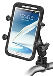 "Handlebar Mount with STAINLESS Steel U-Bolt (Fits .5 to 1.25 Dia. Handlebar Rail), Standard Sized Length Arm and RAM-HOL-UN10BU Universal X Grip IV Holder for Large Smartphones Including iPhone 6/7 Plus, Galaxy S 6/7 Edge (Fits Device Width 1.75"" to 4.5"")"