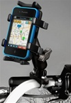 "Handlebar Mount with Zinc U-Bolt (Fits .5 to 1.25 Dia.), Standard Sized Length Arm & RAM-HOL-UN4U Univ. Finger Gripping Cradle (Fits Device Width 1.25"" to 3.5"" Including GPS, eTrex, 2 Way Radios, Smartphones with Cover/Case iPhone, Droid, etc.)"