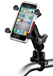 "Handlebar Mount with Zinc U-Bolt (Fits .5 to 1.25 Dia. Handlebar Rail), Standard Sized Length Arm and RAM-HOL-UN7BU Universal X Grip Spring Loaded Holder (Fits Device Width .875"" to 3.25"" including iPhone: 5/5S, 6/6S, 7, Galaxy S5, etc)"