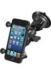 "Single 3.25"" Dia. Suction Cup Base with Twist Lock, Aluminum SHORT Length Sized Arm and RAM-HOL-UN7BU  Universal X Grip Spring Loaded Holder (Fits Device Width .875"" to 3.25"" including iPhone 5/5S, iPhone 6, Galaxy S5, S6, etc)"