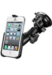 "Single 3.25"" Dia. Suction Cup Base with Twist Lock, Aluminum Standard Length Sized Arm and RAM-HOL-AP11U Apple iPhone 5 Holder (Fits iPhone 5/5S WITHOUT Case or Cover)"