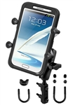 "Brake/Clutch Assembly Mount or U-Bolt Handlebar Mount with Standard Sized Arm and RAM-HOL-UN10BU Universal X Grip IV Holder for Lrg Smartphones Including iPhone 6/7 Plus, Galaxy S 6/7 Edge, Note 5, etc. (Fits Device Width 1.75"" to 4.5"")"