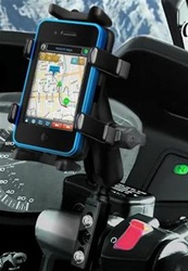 "Brake/Clutch Assembly Mount or U-Bolt Handlebar Mount with Standard Sized Arm and RAM-HOL-UN4U Univ. Finger Gripping Cradle (Fits Device Width 1.25"" to 3.5"" Including GPS, eTrex, 2 Way Radios, Smartphones with Cover/Case iPhone, Droid, etc.)"