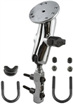 "CHROME Brake/Clutch Assembly Mount Base with Standard Sized Length Arm and 2.5"" Dia. Round Plate"