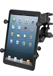 "U Clamp (Aviation Glare Shield) Fits Flat Edge 0.17"" to 1.12"" with SHORT Sized Arm and RAM-HOL-UN8BU SMALL Universal Tablet Holder fits MOST 7-8"" Screens WITH or WITHOUT Case Including: Apple iPad Mini, Archos 7, Asus Pad, Dell Streak"