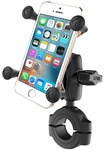 "RAM Torque Handlebar/Rail Base (Fits 1 1/8"" to 1.5"" Diameter) with 1"" Ball,  SHORT Sized Length Arm & RAM-HOL-UN7BU Universal X Grip Holder for Phones (Max Width 3.25"")"
