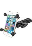"RAM Mini Torque Handlebar/Rail Base (Fits 3/8"" to 5/8"" Diameter) with 1"" Ball,  SHORT Sized Length Arm & RAM-HOL-UN7BU Universal X Grip Holder for Phones (Max Width 3.25"")"