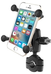 "RAM Torque Handlebar/Rail Base (Fits 3/4"" to 1"" Diameter) with 1"" Ball,  SHORT Sized Length Arm & RAM-HOL-UN7BU Universal X Grip Holder for Phones (Max Width 3.25"")"