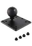 4.75 Inch Square VESA 75/100mm Compatible Plate with Aluminum Post and 2.25 Inch Dia. Rubber Ball