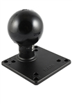 4.75 Inch Square VESA 4x75/100mm Compatible Plate with Aluminum Post and 3.38 Inch Dia. Rubber Ball