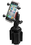 "RAM-A-Can Cup Holder Mount with RAM-HOL-UN7BU Universal X Grip Spring Loaded Holder (Fits Device Width .875"" to 3.25"" including iPhone 5/5S, iPhone 6, Galaxy S5, S6, etc)"
