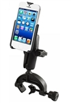 "Universal COMPOSITE Aviation Yoke ""C"" Clamp Base (Fits Rail/Edge Lip from 0.625"" to 1.25"") with Standard Sized  Arm with RAM-HOL-AP11U Apple iPhone 5 Holder (Fits iPhone 5/5S WITHOUT Case or Cover)"