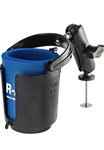 "RAM 5 Spot Base, COMPOSITE Standard Length ""B"" Sized Arm and RAM-B-132BU Self Leveling Cup Holder (Fits Bottles 2.5"" to 3.5"" dia.)"