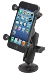"COMPOSITE Round Plate with Composite Standard Sized Arm & RAM-HOL-UN7BU Universal X Grip Spring Loaded Holder (Fits Device Width .875"" to 3.25"" including iPhone 5/5S, iPhone 6, Galaxy S5, S6, etc)"