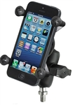 "3/8""-16 Threaded Post Mount, Composite SHORT Sized Length Arm & RAM-HOL-UN7BU Universal X Grip Spring Loaded Holder  (Fits Device Width .875"" to 3.25"" including iPhone 5/5S, iPhone 6, Galaxy S5, S6, etc)"