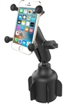 "RAM Stubby Cup Holder Base with Standard/Medium Sized Arm & RAM-HOL-UN7BU Universal X Grip Holder for Phones (Max Width 3.25"")"