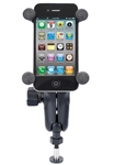 "Harley Davidson Mirror Post Base (Fits Select Touring Models 2008-2013), Standard Sized Length Arm and RAM-HOL-UN7BU Universal X Grip Spring Loaded Holder (Fits Device Width .875"" to 3.25"" including iPhone 5/5S, iPhone 6, Galaxy S5, S6, etc)"