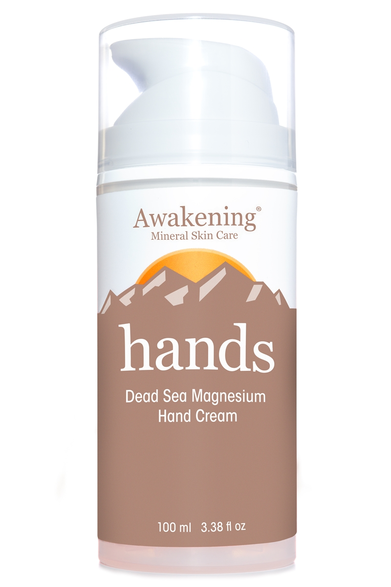 HANDS Magnesium-rich Hydrating Hand Therapy Cream for Dry, Chapped Skin, 3.38oz/100ml Airless Pump