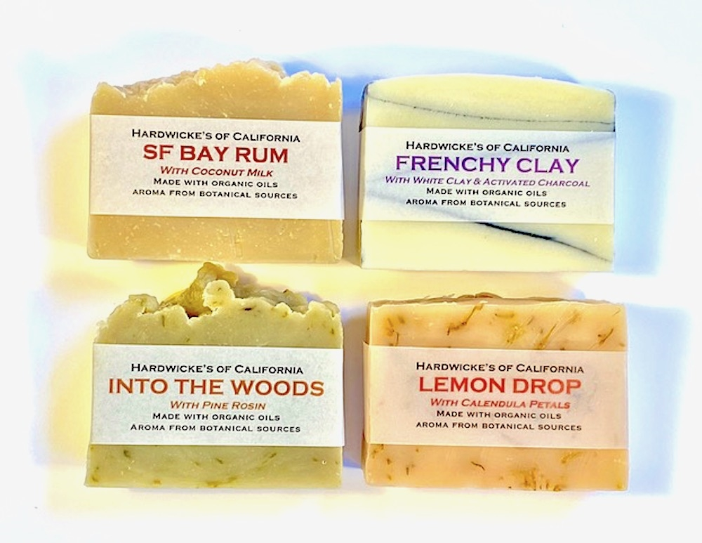 "HANDCRAFTED VEGAN 4-BAR SOAP SET ""Lemon Drop"", ""Into the Woods"", ""Frenchy Clay"" & ""S.F. Bay Rum"""