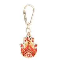 Red Heart Hamsa Key Ring by Ester Shahaf