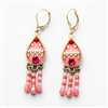 Pink Drop Silver Earrings