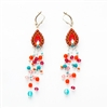 Red Drop Silver Earrings