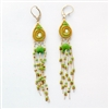 Spiral Green Drop Silver Earrings