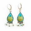 Blue & Green Drop Silver Earrings