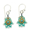 Turquoise Hamsa Earrings - Small - by Ester Shahaf