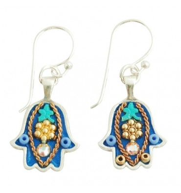 Blue Hamsa Earrings - Small - by Ester Shahaf