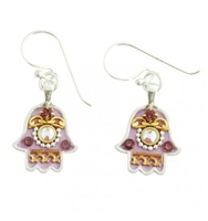 Purple Oriental Hamsa Earrings - Small - by Ester Shahaf