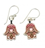 Pink Hamsa Earrings - Small - by Ester Shahaf