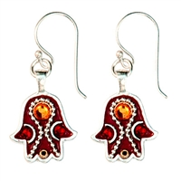 brown silvef hamsa earrings by Ester Shahaf