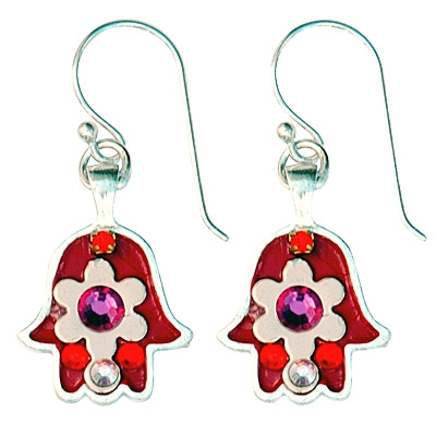 Red Hamsa Earrings - Small - by Ester Shahaf