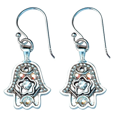 Silver Hamsa Earrings - Small - by Ester Shahaf