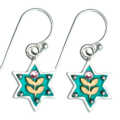 Golden Leaves Star of David Earrings by Ester Shahaf