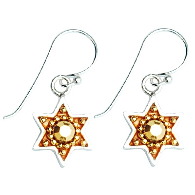 Golden Star of David Earrings by Ester Shahaf