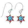 Blue Flower Star of David Earrings by Ester Shahaf