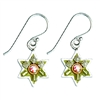 Green Star of David Earrings by Ester Shahaf
