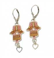 Pink Hamsa Earrings - by Ester Shahaf