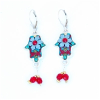Purple flower Hamsa Earrings - by Ester Shahaf