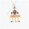 Large Silver Hamsa With Flower  Hamsa Necklace by Ester Shahaf