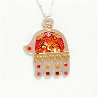 Large Silver Hamsa Red Necklace by Ester Shahaf