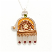 Large Silver Hamsa Golden Accents Necklace by Ester Shahaf